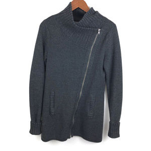 Athleta Wool Blend Asymmetrical Zip Front Sweater